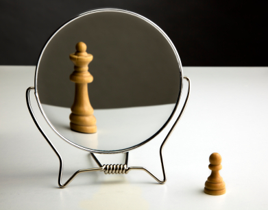 Chess pieces in mirror